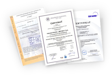 View SEFAKO's certificates